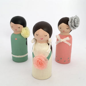 Lady doll peg dolls handpainted in green, pale yellow and peach