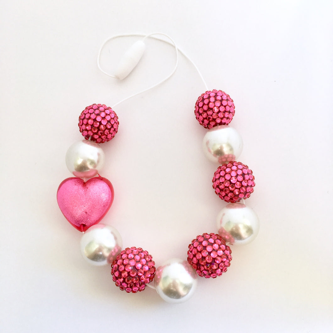 Pink and white chunky bubblegum bead necklace, kids accessories