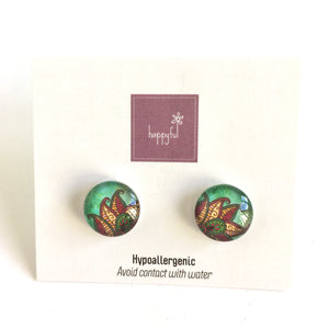 Retro Green Stud Earrings