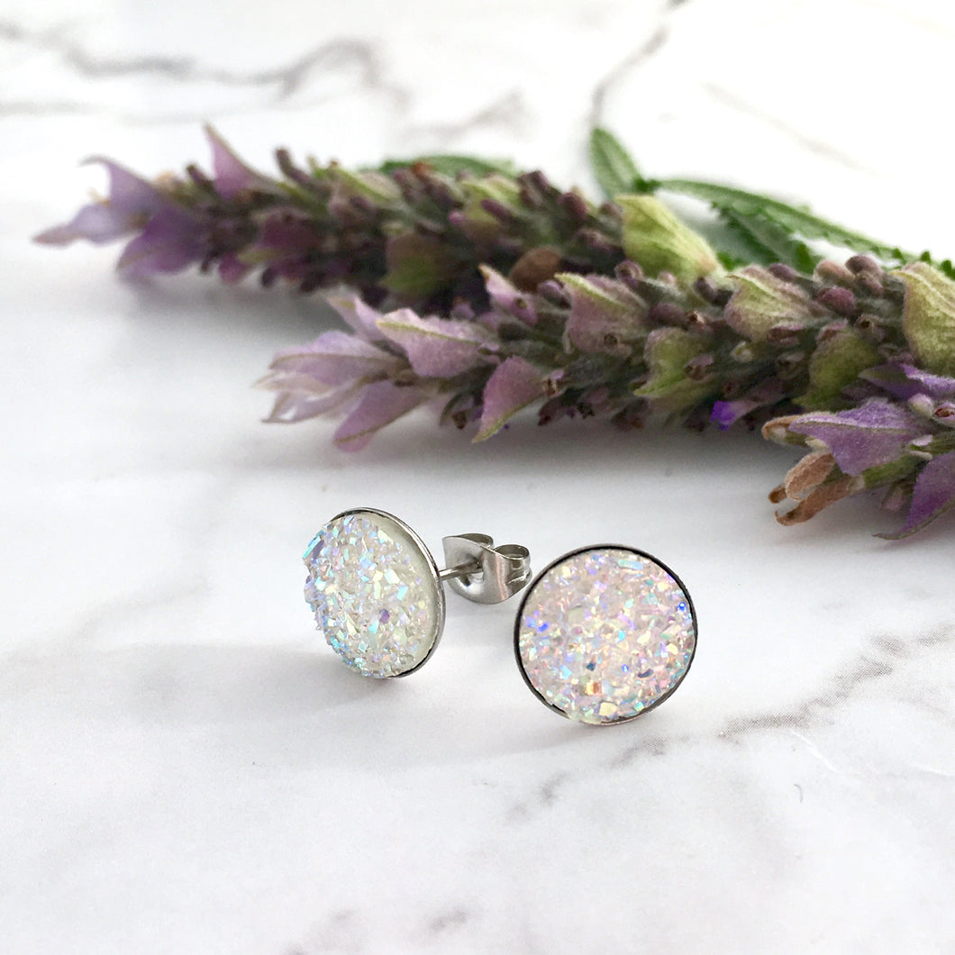 10mm faux druzy hypoallergenic sparkle studs, wedding