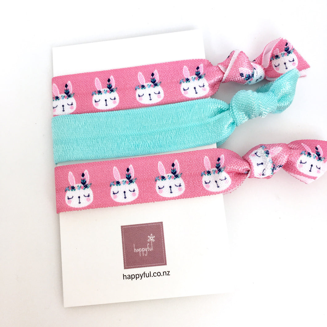Pink and mint rabbit hair tie set, hair accessories, easter, party favour, set of three