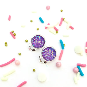 Purple Sparkle Clip-on Earrings
