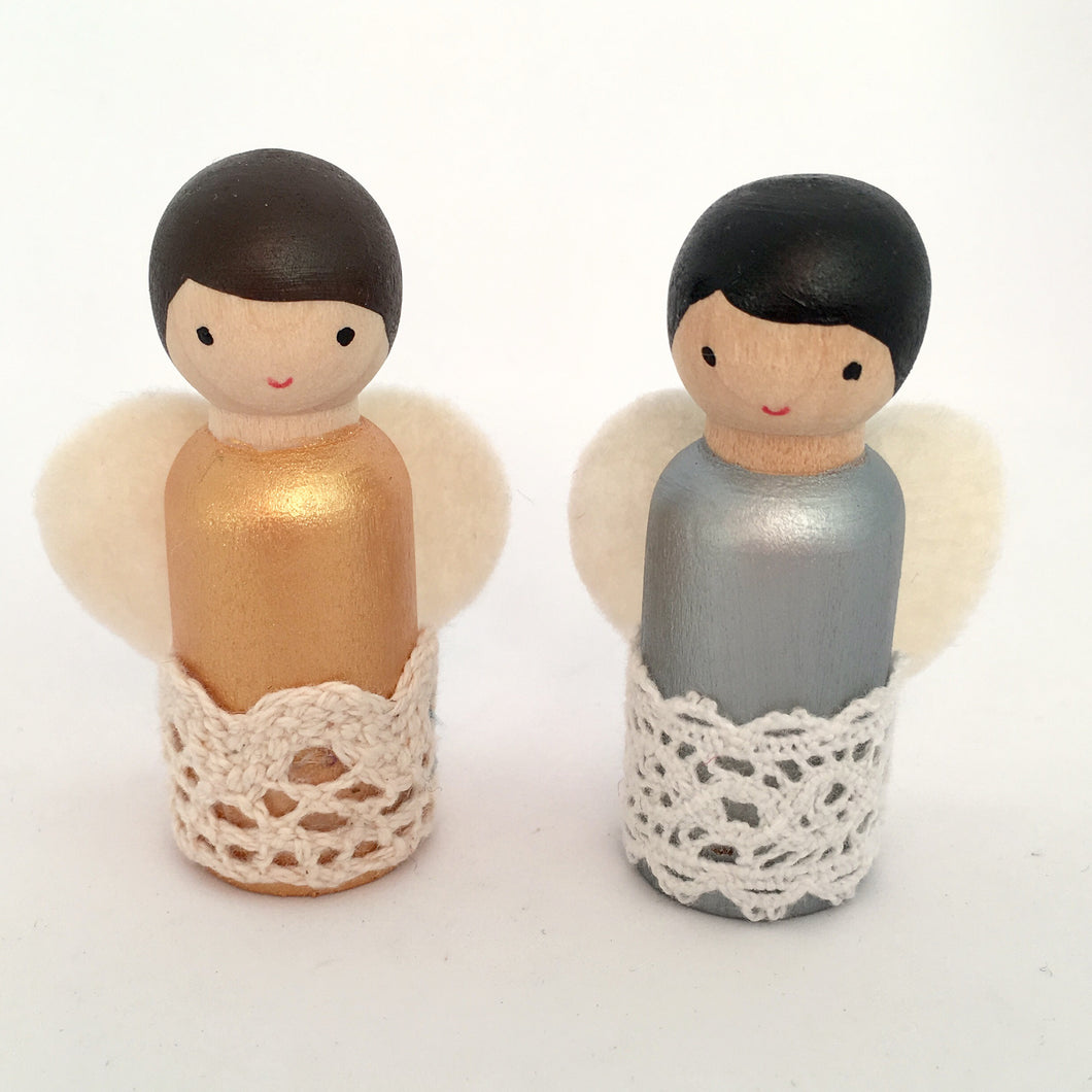 Christmas angel peg dolls in gold and silver