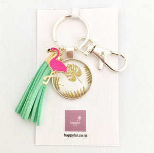 Pink and mint flamingo key ring, tropical party
