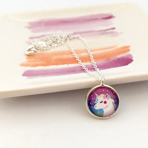 Girls Rainbow Unicorn Necklace