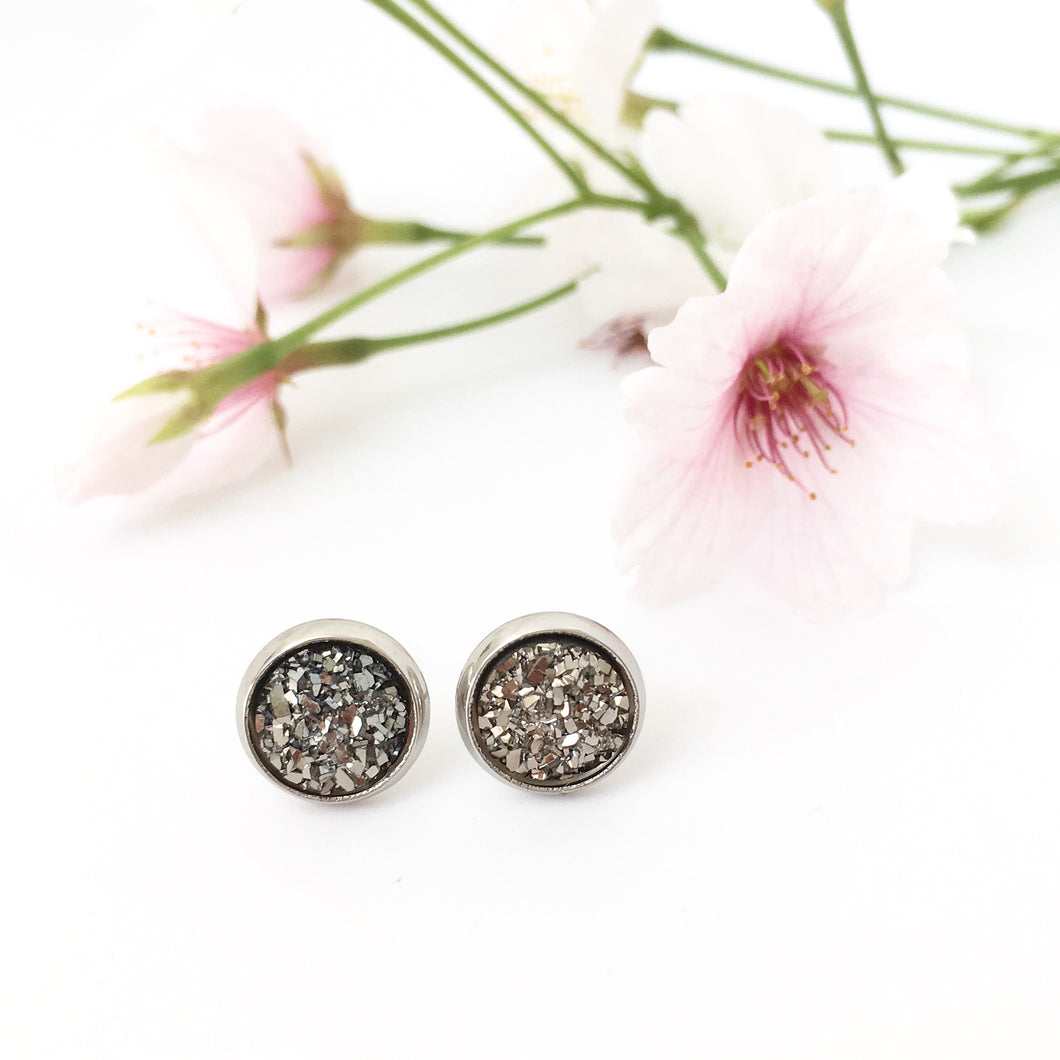 Charcoal Sparkle Stud Earrings