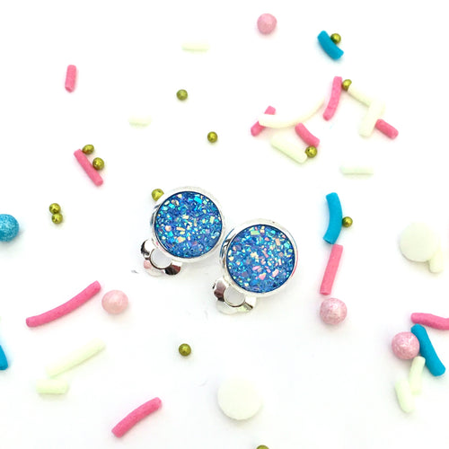 Sky Blue Druzy Clip-on Earrings
