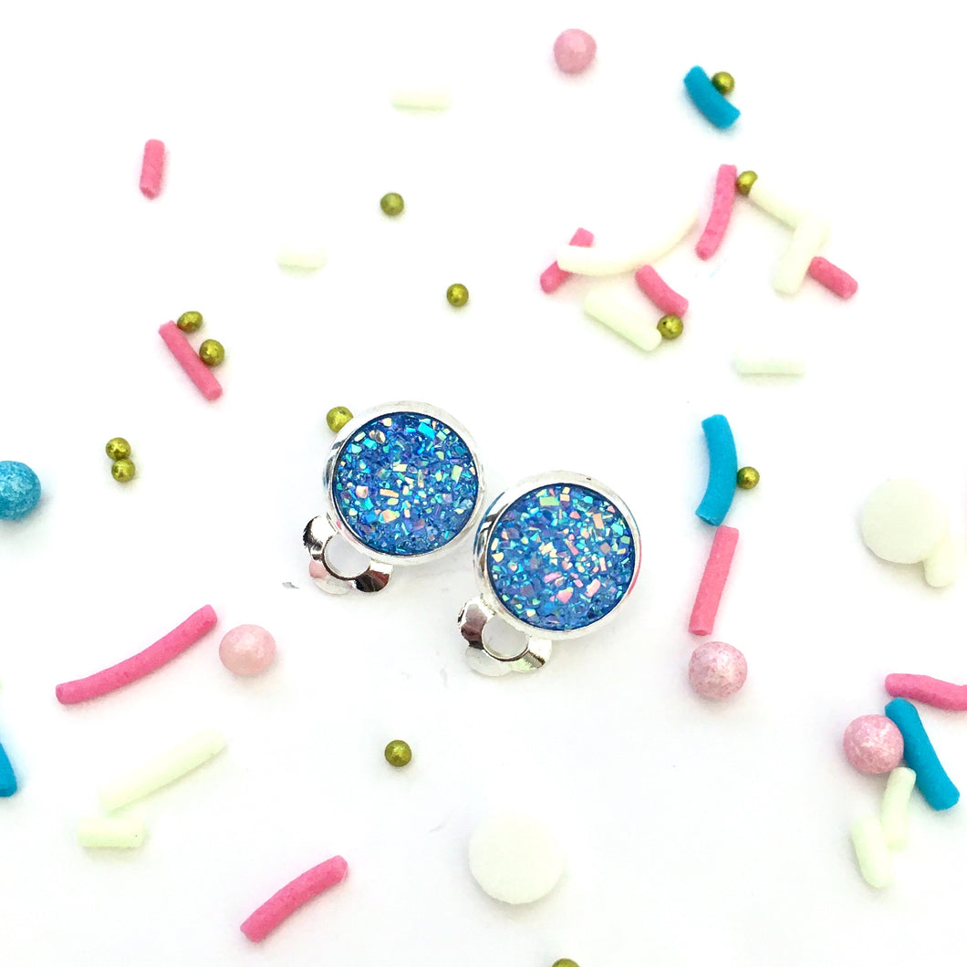 Sky Blue Sparkle Clip-on Earrings