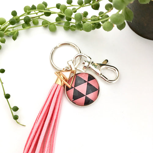 Geo Pink Key Ring and Bag Tag