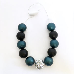 Deep teal and black bubblegum bead chunky necklace for kids