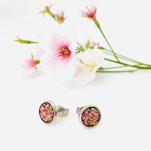 Magenta Sparkle Stud Earrings (8mm)