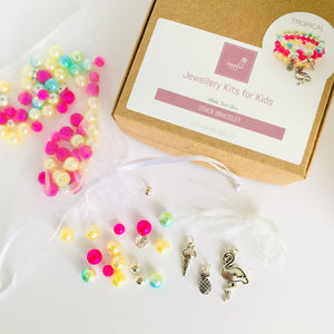 Girls pink and yellow make your own DIY stack charm bracelet set for kids, jewellery making party, flamingo, icecream and pineapple charms