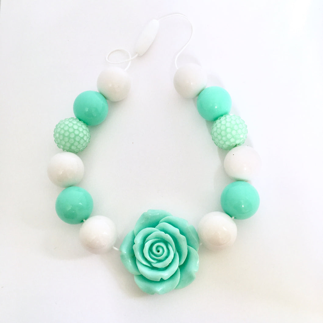 Minty Delight Bubblegum Bead Necklace