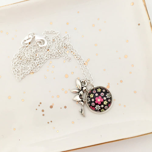 Girls black and pink flower glass dome pendant necklace with fairy charm and silver chain