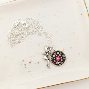 Girls Flower Fairy Charm Necklace