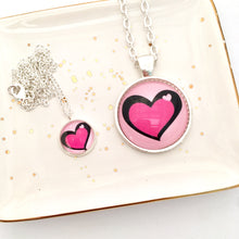 Mother and daughter necklace set with pink hearts NZ
