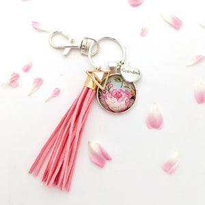 Floral grandma glass dome key ring with pink suede tassel