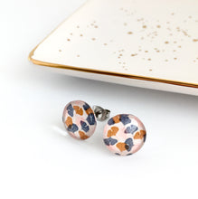 Autumn colour ginko leaf 12mm glass dome stud earrings from Happyful NZ