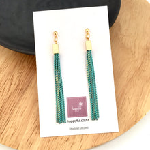 Mint and gold chain tassel earrings NZ