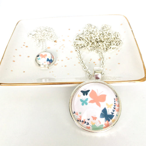 Matching Mummy and daughter glass dome pendant necklace with link chain, pastel butterflies