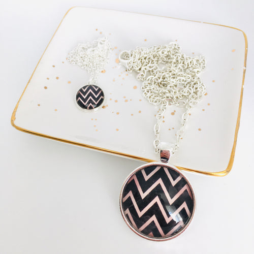 Matching Mummy and daughter glass dome pendant necklace with link chain, black and blush zigzag