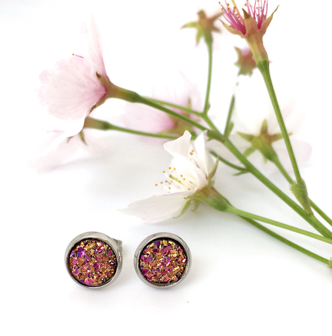 Magenta druzy sparkle stud earrings 8mm girls hypoallergenic Happyful NZ
