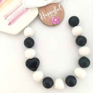 Black and white monochrome bubblegum bead necklace for kids