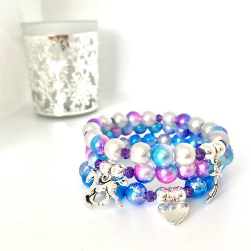 Horse charm stack bracelet with three bracelets and horse, heart and shooting star charm, blue, pink and silver