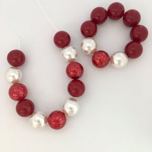 Red and silver chunky bubblegum bead Christmas necklace and bracelet set for kids