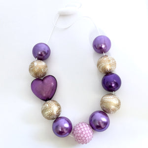 Purple and gold heart bubblegum bead necklace for girls