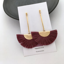 Long Maroon Plum coloured fan tassel earrings on 16k gold plated posts