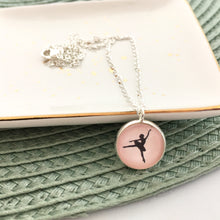Girls pink ballerina pendant necklace on a fine silver plated link chain