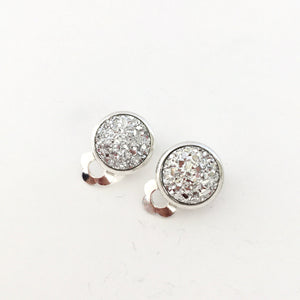Silver Sparkle Clip-on Earrings