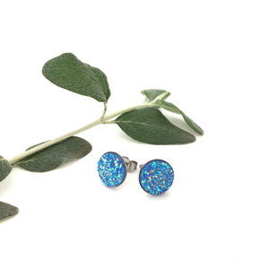 Sky Blue Sparkle Studs (10mm)