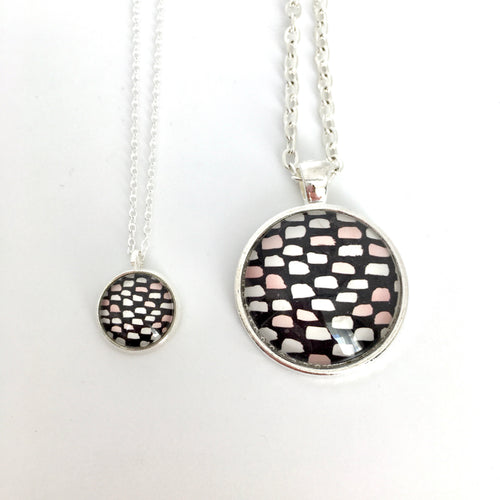 Matching Mummy and daughter glass dome pendant necklace with link chain