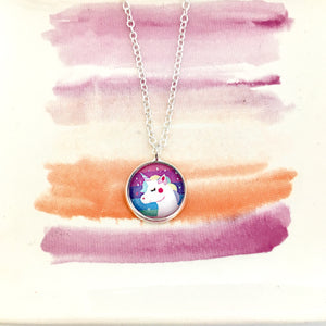 Girls rainbow unicorn necklace on a silver link chain