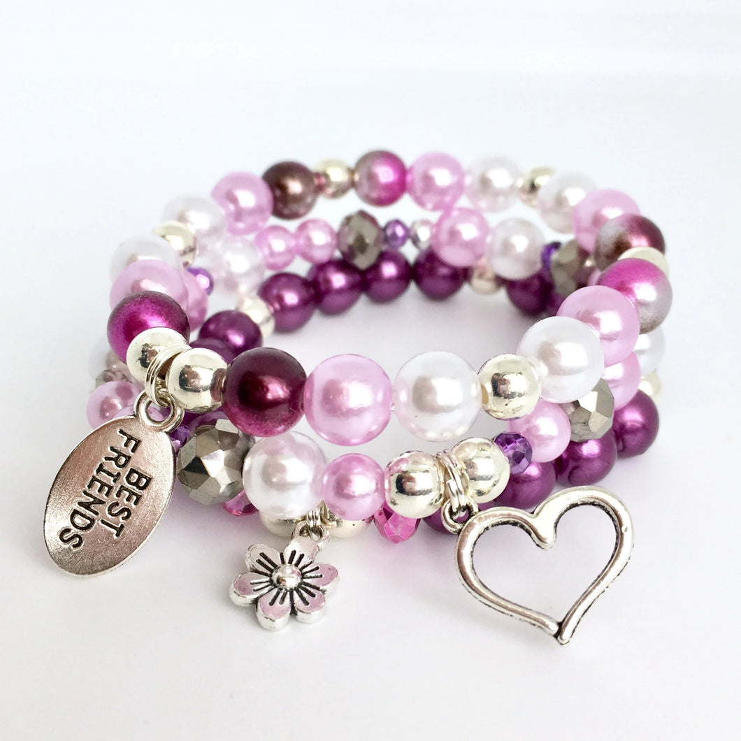 Purple best friends stack charm bracelet for girls and kids