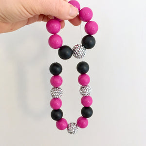 Bright hot pink and black necklace and bracelet set with chunky beads for girls