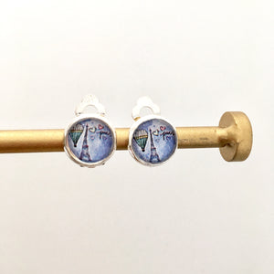 Paris Eiffel tower clip on earrings for kids