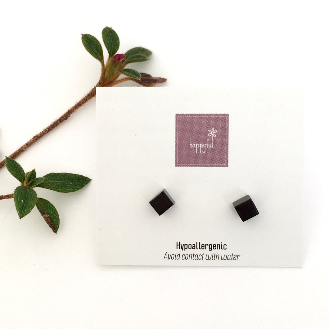 Black Cube Stud Earrings