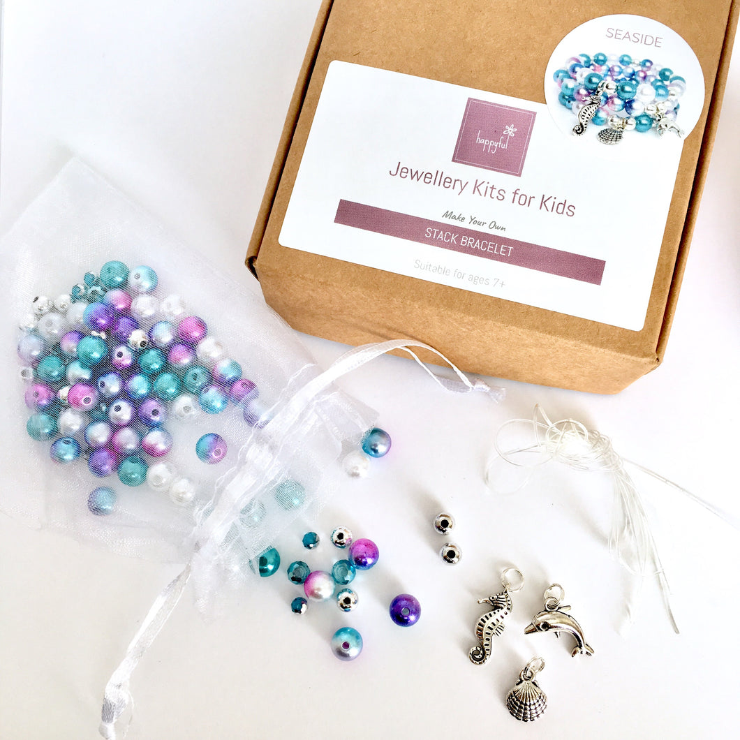 DIY seaside blue and purple make your own jewellery kit, seaside party, party kit, jewellery making party, seahorse, dolphin and shell charms, makes three bracelets to stack