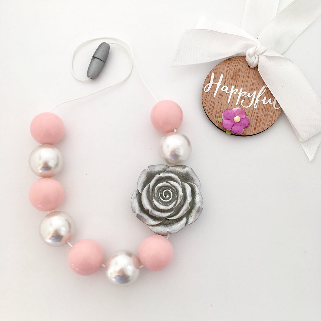 Blush pink and silver flower girl chunky bubblegum bead jewellery necklace