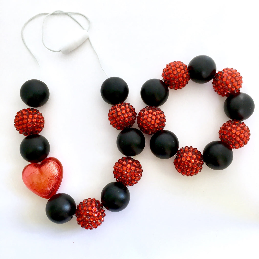 Red and black chunky bubblegum bead necklace and bracelet jewellery set, kids costume jewellery and accessories