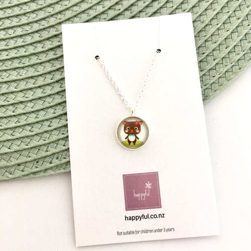 Girls kitty cat necklace with silver link chain