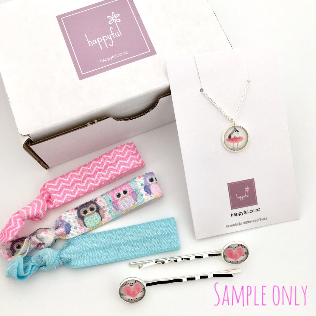 Girls mystery surprise jewellery box containing necklace, hair pins and hair ties