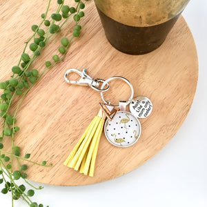 Aunty charm key ring with yellow tassel and flamingos
