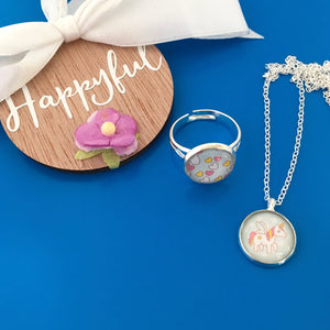 Unicorn Girls Necklace and Ring Set