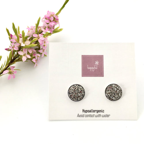 Charcoal Sparkle Studs (10mm)