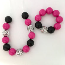 Black and pink chunky bubblegum bead girls necklace
