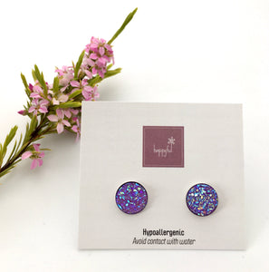 Purple Sparkle Studs (10mm)